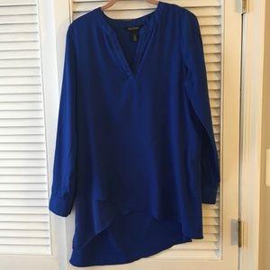 WHBM Asymmetrical Blue Blouse